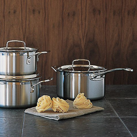 review giveaway le creuset 3 ply stainless steel saucepan set vivre le r ve. Black Bedroom Furniture Sets. Home Design Ideas