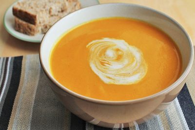 Deliciously Autumnal Carrot Soup With Goat's Cheese