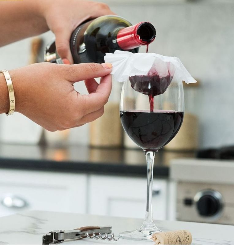 If some cork breaks into your bottle, strain it using a coffee filter.