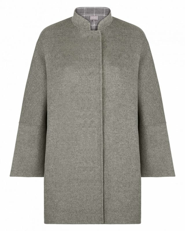 Wool Double Face Cape Coat With Internal Check
