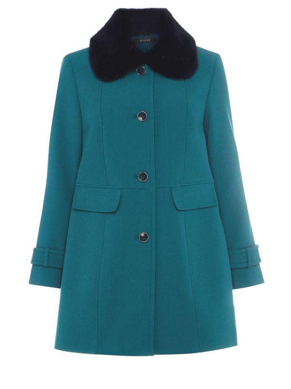 Teal Blue Pear Fit Dolly Parka Coat