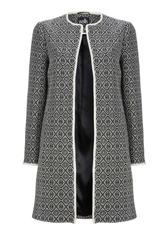 Monochrome Textured Duster Coat