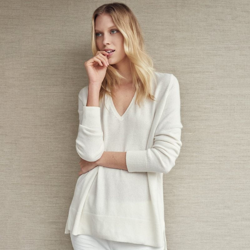 Side Split V-Neck Jumper, Porcelain, £169, The White Company