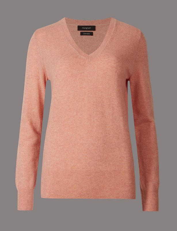 Pure Cashmere Ribbed Hem V-Neck Jumper, £75, Marks & Spencer