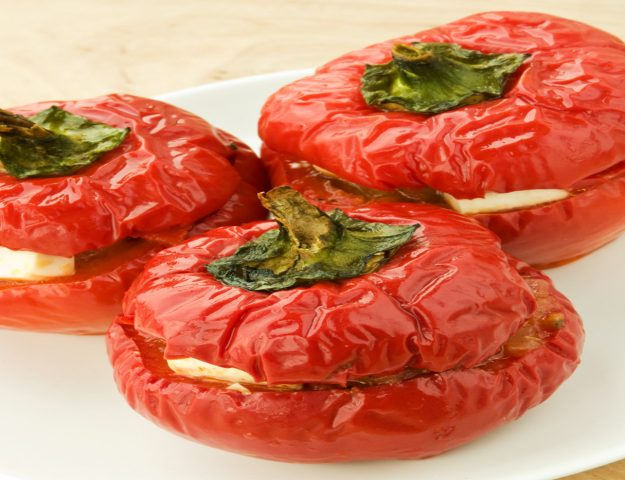 Vegetarian Feta & Shallot Stuffed Peppers